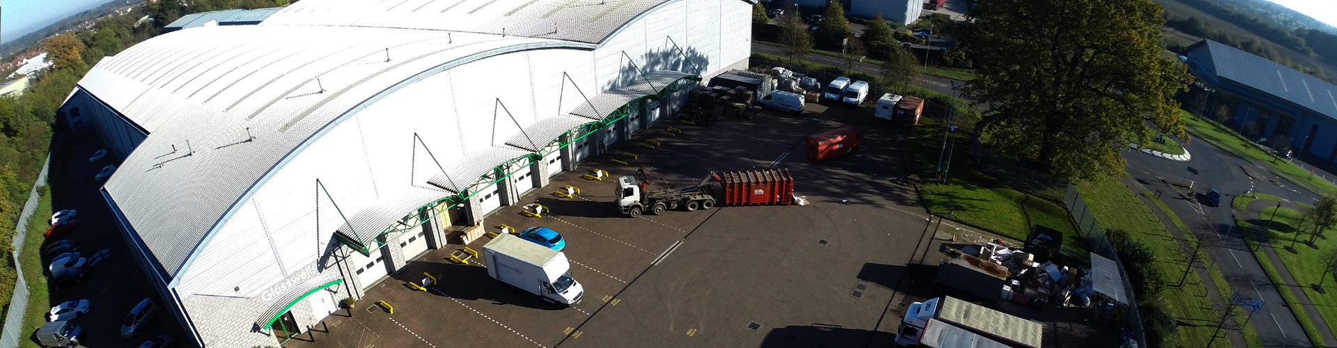 aerial shot of Glasswells storage