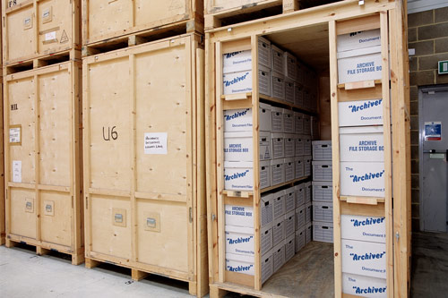 Boxes of paperwork being stored in Warehouse