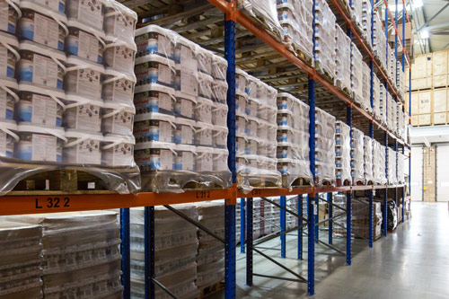 Rows of Pallets Being Stored at Glasswells Warehouse