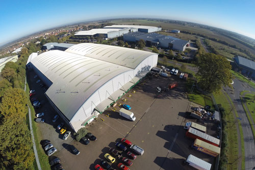 Aerial view of Glasswells warehouse in Bury St Edmunds
